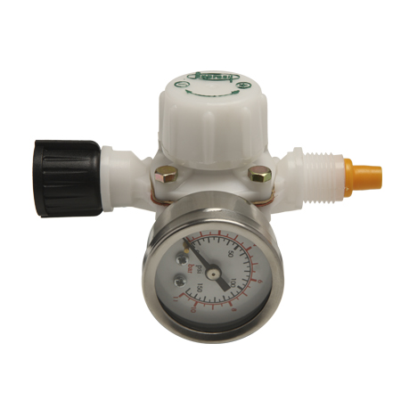Flow regulator with pressure gauge